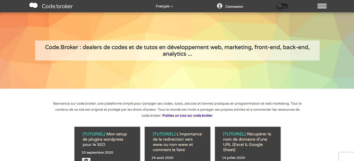 Site web Tutoriels de codes et marketing