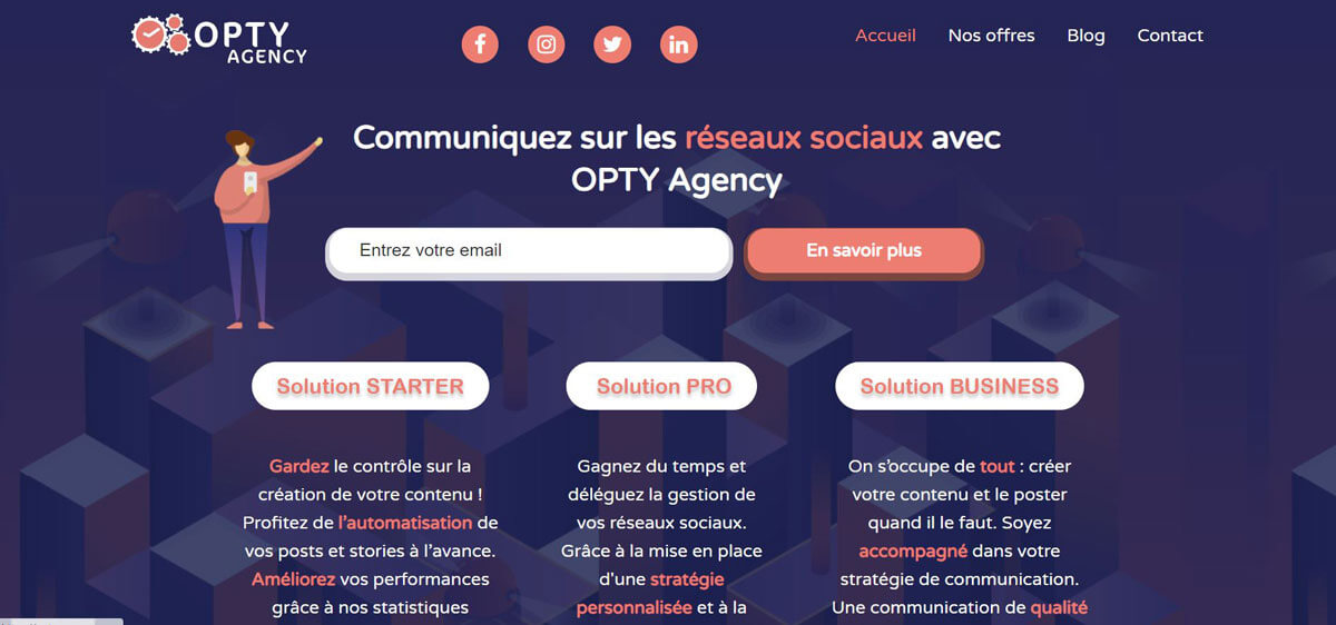 Site web Opty Agency